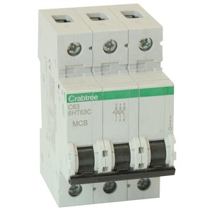 Crabtree Loadstar 3-Pole 63A 10kA Curve-C Miniature Circuit Breaker 54 x 90 x 76mm