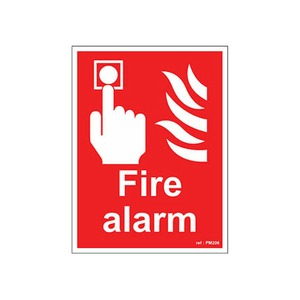 Fire Alarm Sign SR 200x150mm Red/White