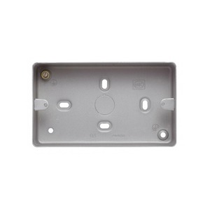 MK Electric Aluminium Surface Mount Back Box with 7 x 20mm Knockouts 2-Gang 146 x 86 x 41mm