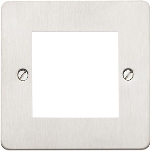 MK Electric Decorative Euro Modular Frontplate 2 Module 50 x 50mm Brushed Stainless Steel