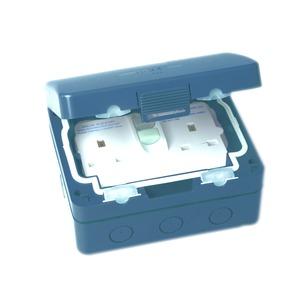 Newlec RCD Weatherproof Socket 2 Gang IP66 Grey