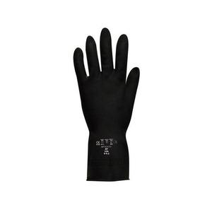 Jet Heavy-Duty Flock Lined Rubber Glove Black Size 9-9.5