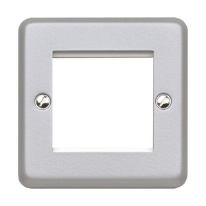 MK Electric Metalclad Euro Metal Frontplate for 1-Gang 2-Module Aluminium 50 x 50mm