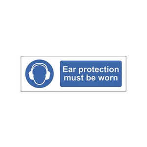 "Mandatory Sign ""Ear Protection Must Be Worn"" 600x200mm Blue/White"