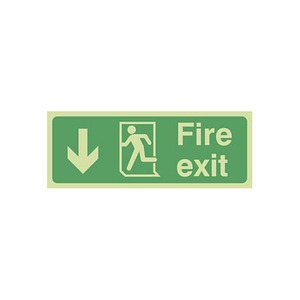 """Photo Luminescent Sign """"Fire Exit"""" Down Arrow 400x150mm Green"""