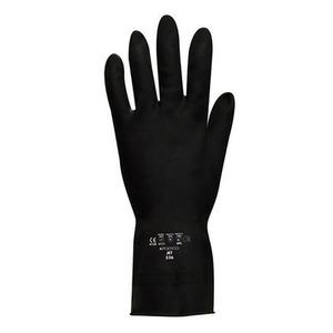 Jet Heavy-Duty Flock Lined Rubber Glove Black Size 7-7.5