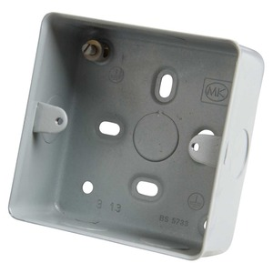 MK Electric Aluminium Surface Mount Back Box 1-Gang 86 x 86 x 41mm