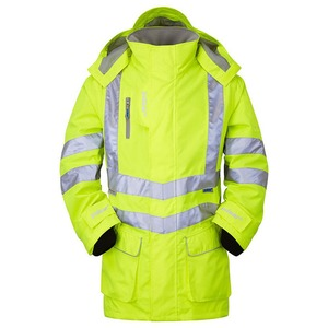 Hi-Vis Breathable Storm Coat with Reflective Tape Large Yellow