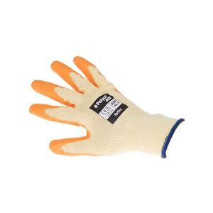 Polyco Reflex Natural Rubber Palm Coated Glove with Knitted Polycotton Liner Orange Size 8
