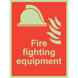 """Photo Luminescent Sign """"Fire Fighting Equipment"""" 200x150mm Red"""