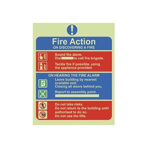 """Photo Luminescent Sign """"Fire Action Plan"""" 250x200mm Red/Blue"""