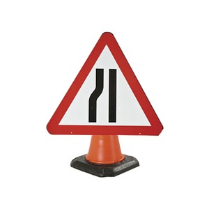 """Cone Mounted Road Sign """"Road Narrows Near Side"""" 750mm Red/White/Black"""