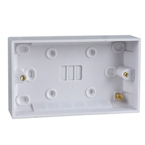 Schneider Exclusive Square Edge Moulded Pattress Box 2-Gang 149 x 87 x 16mm White
