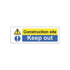 "Mandatory Sign ""Construction Site Keep Out"" SR 600x200mm Blue/White"
