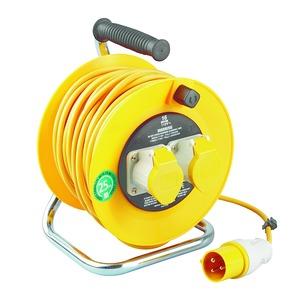 Newlec Open Reel Extension Reel 3 x 1.50mm² 110V 2 Gang 25m Yellow