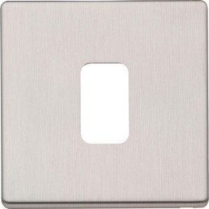 MK Electric Grid Plus Modular Frontplate 1-Module Flush Brushed Stainless Steel