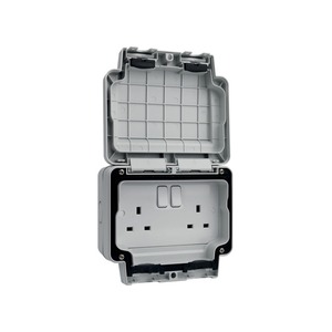 Hager Sollysta Twin Switched Socket 2-Pole 13A IP66
