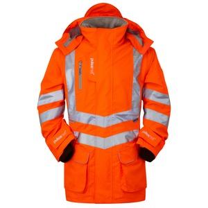 Hi-Vis Waterproof Breathable Rail Spec Padded Storm Coat Medium Orange
