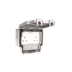 MK Masterseal Plus™ 2-Gang 2-Pole Socket Switch 250V 13A 157 x 110 x 89mm Grey