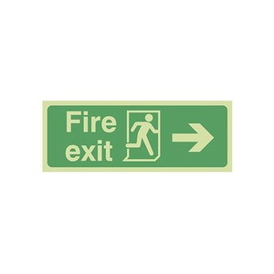 """Photo Luminescent Sign """"Fire Exit"""" Right Arrow 400x150mm Green"""