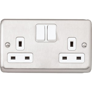 MK Electric Albany Plus Socket 2-Gang 13A 2-Pole Brushed Stainless Steel with White Insert
