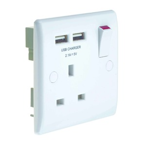 Newlec 1 Gang Switched Socket with Twin USB Charger 13A 25mm White