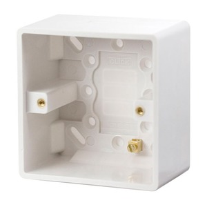 Scolmore CLICK MODE Pattress Box with Earth Terminal 1-Gang 86 x 86 x 47mm White