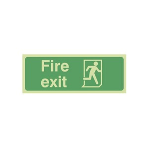 """Photo Luminescent Sign """"Fire Exit"""" Final Exit 400x150mm Green"""