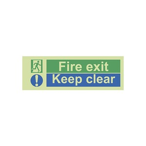 """Photo Luminescent Sign """"Fire Exit Keep Clear"""" 400x150mm Green"""