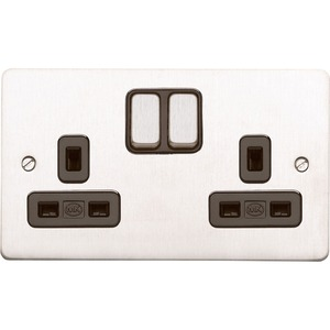 MK Electric Decorative Socket Edge 2-Gang 13A 2-Pole Brushed Stainless Steel White Insert