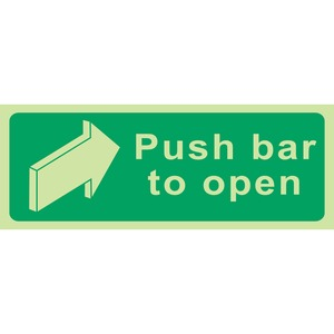"""Photo Luminescent Sign """"Push Bar To Open"""" 400x150mm Green"""