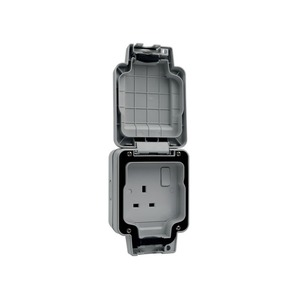 Hager Sollysta Switched Socket 1-Gang 2-Pole 13A Grey