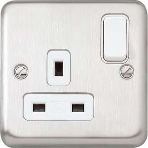 MK Electric Albany Plus Switched Socket Outlet with Dual Earth Terminals 1-Gang 2-Pole 13A
