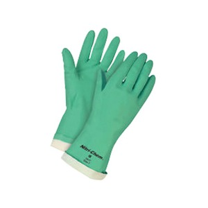 Nitri-Tech II Flock Lined Rubber Gloves Green Size 10