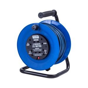 Newlec Open Reel Extension Reel 3 x 1.25mm² 230V 4 Gang 25m Blue