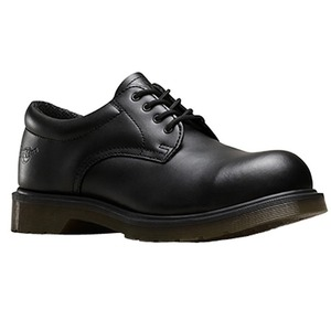 4-Eye Air Cushioned Sole Leather Anti-Slip Safety Shoe Size 7 Black