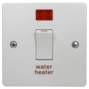 Crabtree 2-Pole 20A Water Heater Control Switch with Neon White