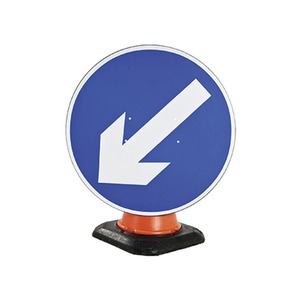 """Cone Mounted Road Sign """"Arrow Left"""" 750mm Blue/White"""