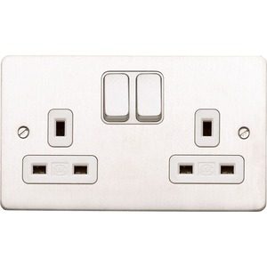 MK Electric Socket Brushed Stainless Steel Black Insert 2-Gang 2-Pole 13A