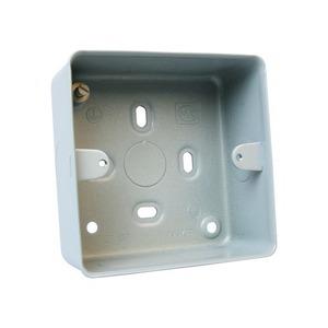 MK Electric Aluminium Surface Mount Square Corner 1-Gang Box 86 x 86 x 41mm