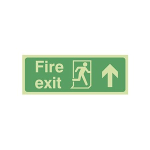 """Photo Luminescent Sign """"Fire Exit"""" Up Arrow 400x150mm Green"""