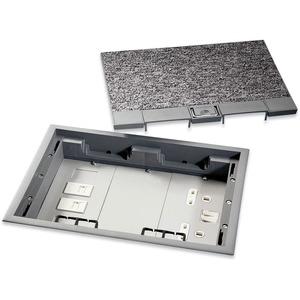 Newlec Floorbox 3 Compartment Cavity Floor Box + Accessory Plates