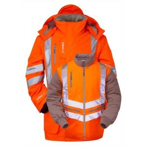 7-in-1 Hi-Vis Sports Style Rail Spec Storm Coat Large Orange