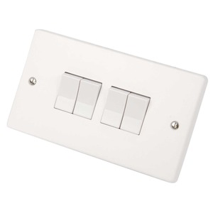Crabtree Plate Switch 4-Gang 1-Pole 2-Way 10A 86 x 146mm