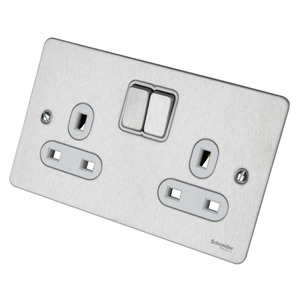 Schneider Ultimate Switched Socket 2-Gang 1-Pole 13A Stainless Steel