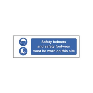 "Mand Sign ""Safety Helmets And Footwear Must Be Worn On This Site"" 600x200mm Blue/White"