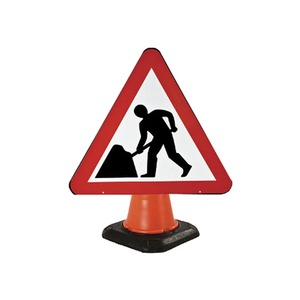 """Cone Mounted Road Sign """"Men At Work"""" 750mm Red/White/Black"""