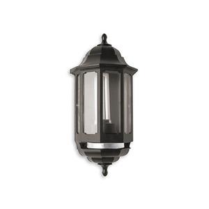 Newlec Half Wall Lantern with PIR IP44 60W BC / 9W CFL Black