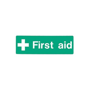 "Safety Sign ""First Aid"" Self Adhesive 300x100mm Green/White"