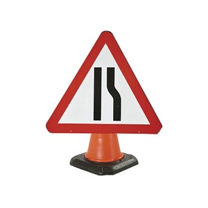 """Cone Mounted Road Sign """"Road Narrows Off Side"""" 750mm Red/White/Black"""